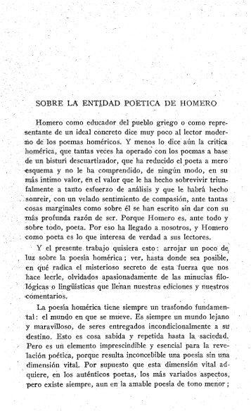 , SOBRE LA ENTIDAD POETICA DE HOMERO - InterClassica