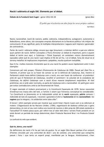 Nació i Sobirania al segle XXI. Elements per al debat. Ignasi Bea.