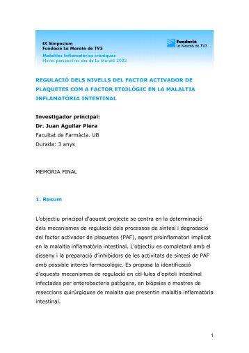 Dr. Juan Aguilar Piera Facultat de Farmàcia UB