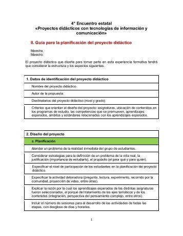Guía para la planificación del proyecto didáctico