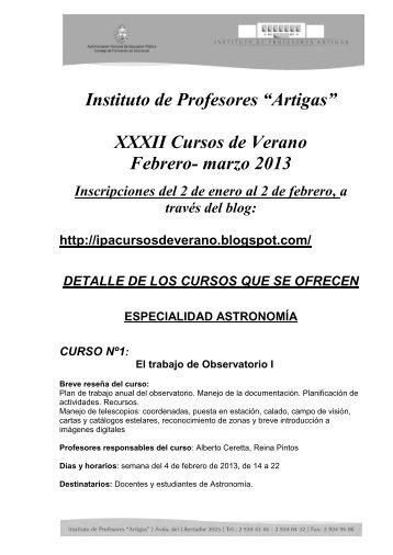 "Instituto de Profesores ""Artigas"" XXXII Cursos de Verano Febrero- marzo 2013"