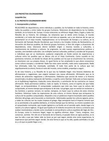 LOS PROYECTOS COLONIZADORES Leopoldo Zea A. EL ...