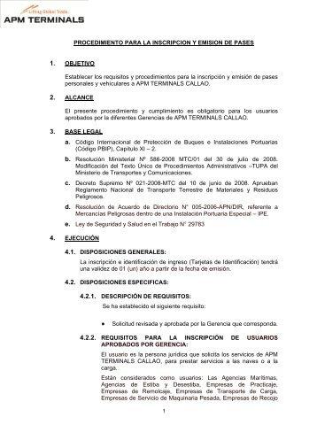 PROCEDIMIENTO PARA LA INSCRIPCION Y ... - APM Terminals