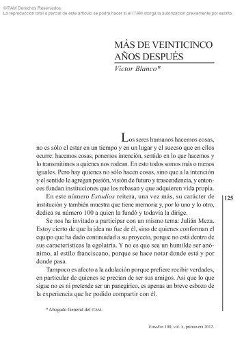 DE VEINTICINCO AÑOS DESPUÉS Víctor Blanco - Biblioteca - ITAM