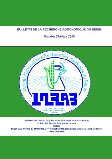 BULLETIN DE LA RECHERCHE AGRONOMIQUE DU BENIN ... - Slire