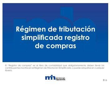 Régimen de tributación simplificada registro de compras