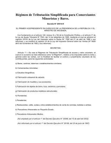 Régimen de Tributación Simplificada para ... - Costa Rica