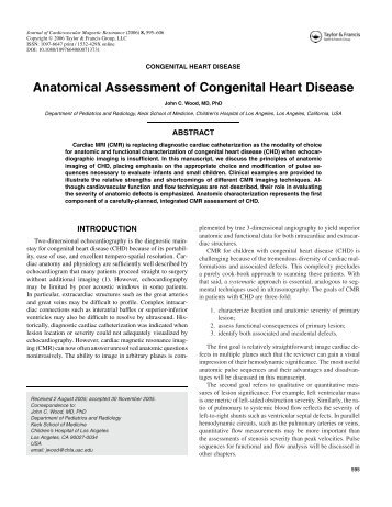 Anatomical Assessment of Congenital Heart Disease - Society of ...