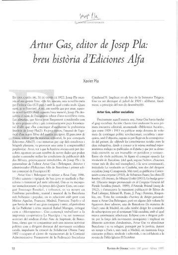 Artur GaSj editor de Josep Pía: hreu historia d^Ediciones Alfa - RACO