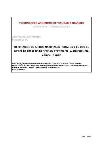 Trituración de áridos naturales rodados y su uso en mezclas ...
