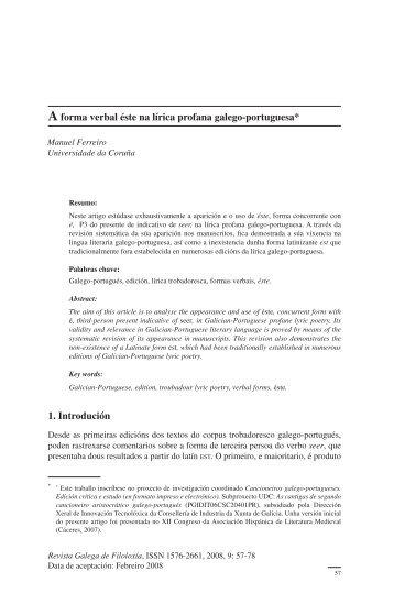 A forma verbal éste na lítica profana galego-portuguesa - RUC ...