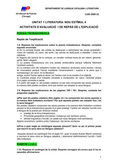 unitat 1 literatura. nou estímul 4 activitats d'avaluació i de repàs de l ...