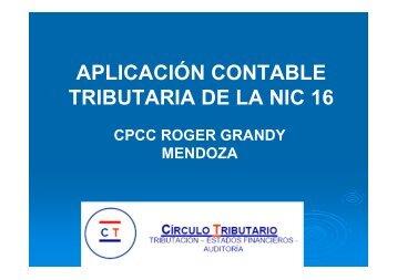 APLICACIÓN CONTABLE TRIBUTARIA DE LA NIC 16