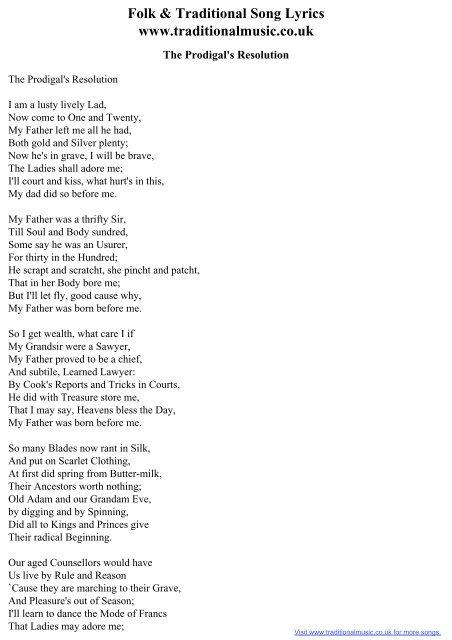 Folk & Traditional Song Lyrics - The Prodigal's Resolution