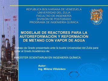 Reformación y autoreformación de metano con vapor de agua
