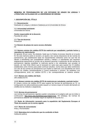 Grau en Llengua i Literatura Catalanes - UdG