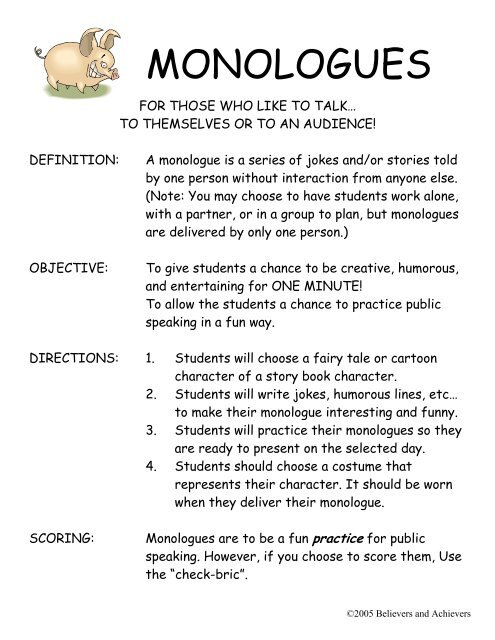 MONOLOGUES - Believers and Achievers