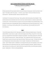 2010 VAGINA MONOLOGUES AUDITION PIECES *** Pick any 2 ...
