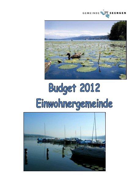 Einwohnergemeinde Seengen Erläuterungen zum Voranschlag 2012
