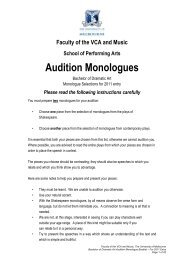 AUDITION MONOLOGUES - FEMALE