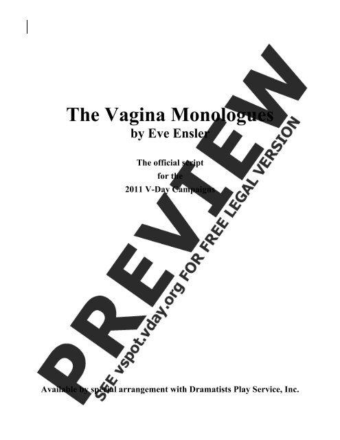 Vagina monologues full script