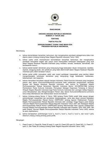 rancangan undang-undang republik indonesia nomor 31 ... - ProPatria