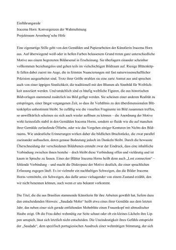 Einführungsrede Iracema Horn: Konvergenzen der ... - Galerie Epikur