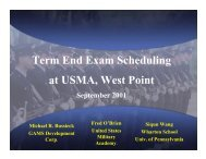 Term End Exam Scheduling at USMA, West Point - Gams