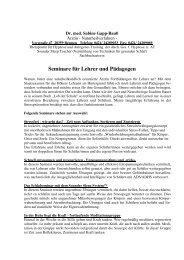 Seminare für Lehrer und Pädagogen - Sabine Gapp-Bauß