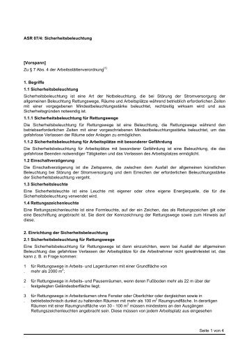 Seite 1 von 4 ASR 07/4: Sicherheitsbeleuchtung ... - Garbes-online.de