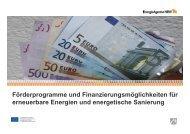 WS 02 Finanzierung, Vortrag  Christian Dahm, Energie-Agentur
