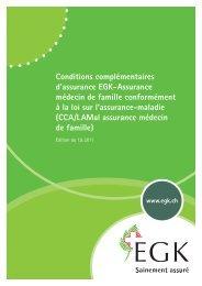 Conditions complémentaires d'assurance EGK-Assurance médecin de