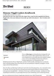Simone Niggli-Luders Kraftwerk - bei der Beer Holzbau AG