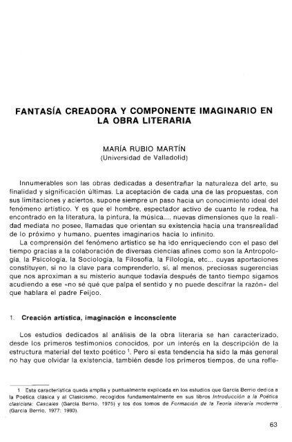 Fantasía Creadora Y Componente Imaginario En La Obra