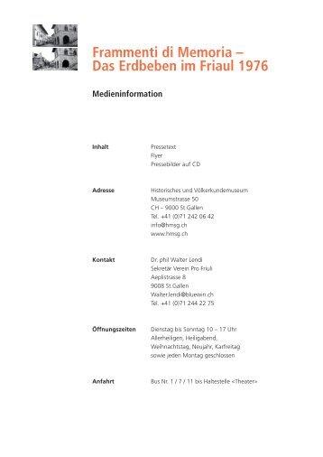 Frammenti di Memoria - Historisches und Völkerkundemuseum