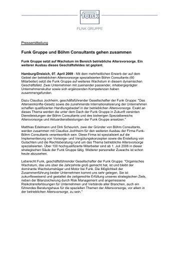 Funk Gruppe und Böhm Consultants gehen zusammen