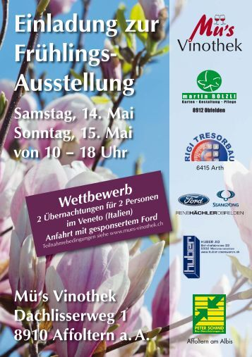 Einladung zur Frühlings- Ausstellung Samstag, 14. Mai Sonntag, 15 ...