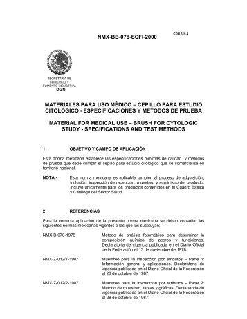 NMX-BB-078-SCFI-2000 MATERIALES PARA USO MÉDICO ...