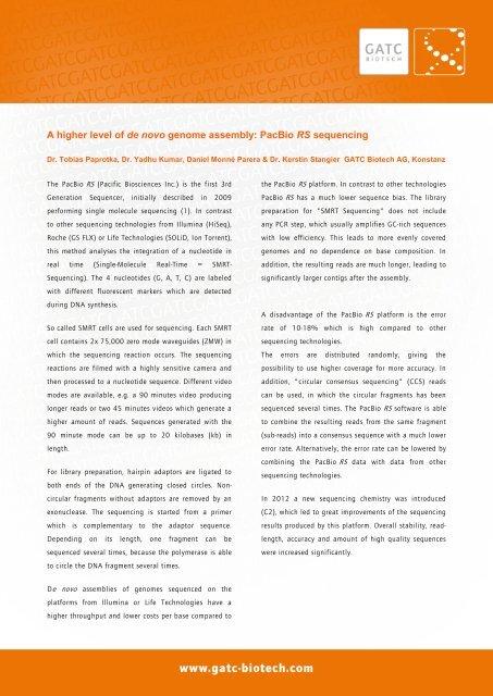 A higher level of de novo genome assembly: PacBio     - GATC