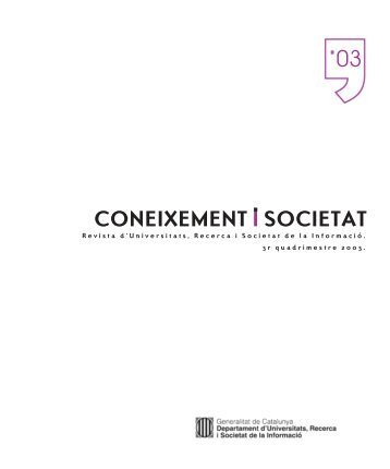 Coneixement i Societat 03 - Generalitat de Catalunya