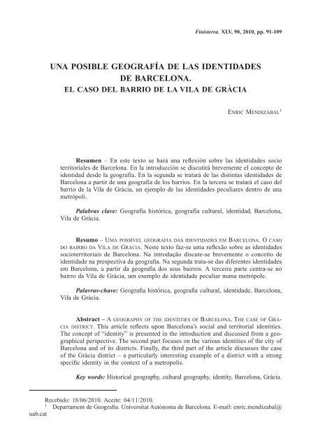 Una Posible Geografía De Las Identidades De Barcelona