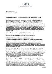 Download der Pressemeldung   141 kb - GBK AG