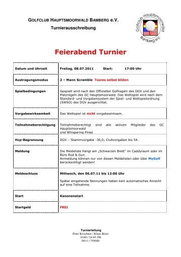 Ausschreibung Feierabend Turnier - Golfclubs Hauptsmoorwald ...