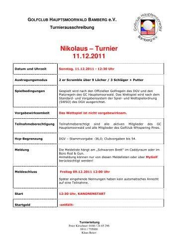 Ausschreibung - Nikolaus Turnier 2012 - gc-hauptsmoorwald.de