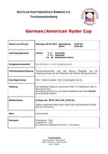 Ausschreibung Ryder Cup - Golfclubs Hauptsmoorwald Bamberg