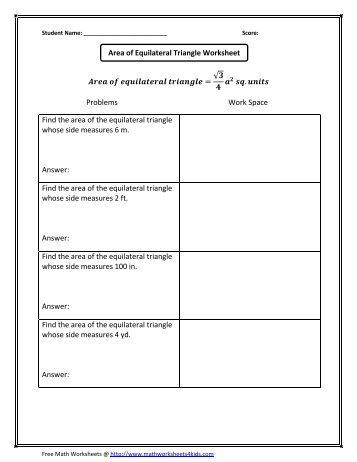Find the area of the equilateral triangle - Math Worksheets For Kids
