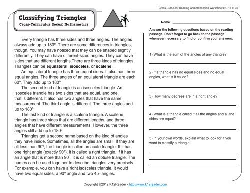 Cross Curricular Reading Comprehension Worksheets C 17