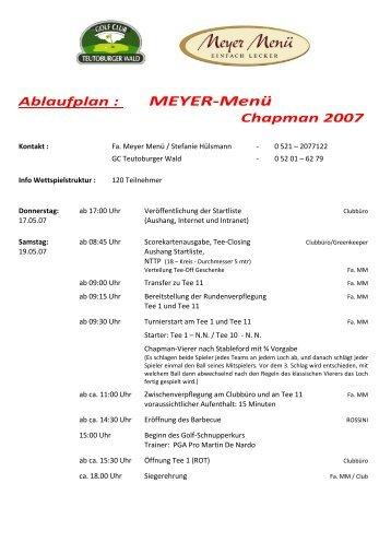 MEYER-Menü - im Golf Club Teutoburger Wald