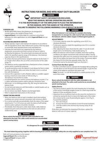 Instruction Manual, Heavy Duty Balancer, BHD-NFRU