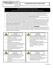 LED IMPORTANT SAFETY INSTRUCTIONS - Acuity Brands